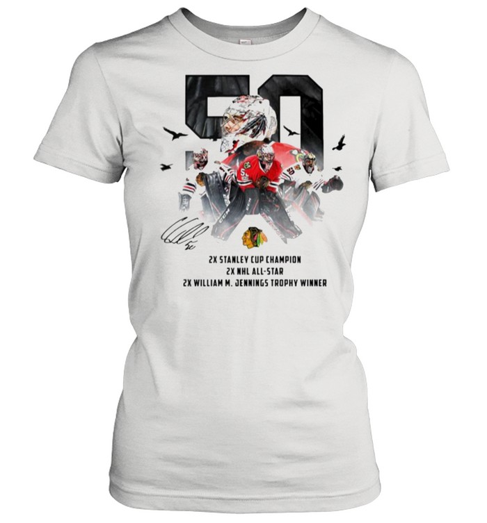 50 Corey Crawford Chicago Blackhawks 2x Stanley Cup Champion 2x NHL all-star 2x William M Jennings trophy winner shirt Classic Women's T-shirt