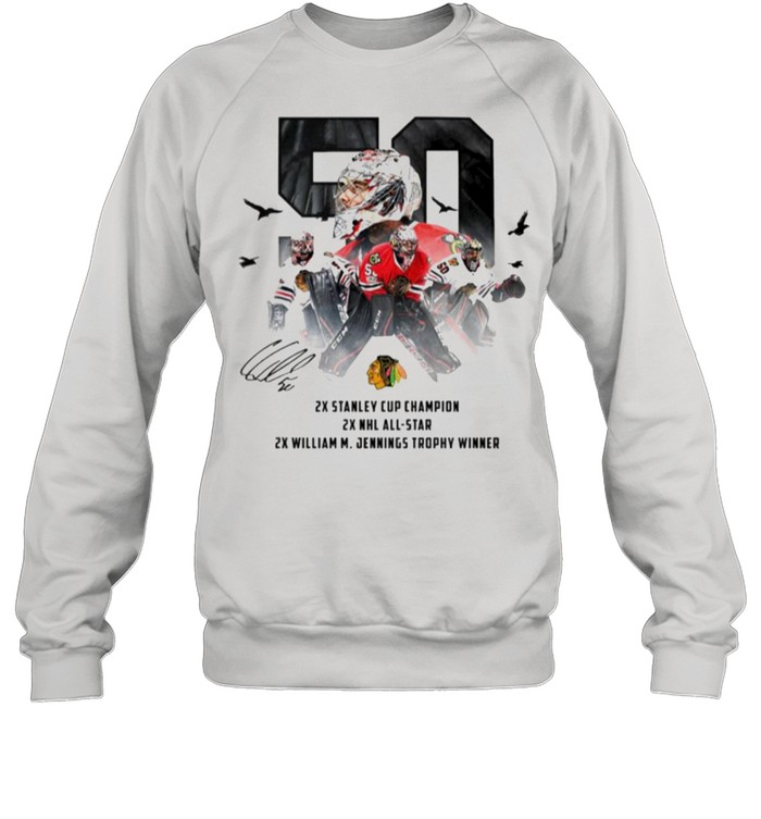 50 Corey Crawford Chicago Blackhawks 2x Stanley Cup Champion 2x NHL all-star 2x William M Jennings trophy winner shirt Unisex Sweatshirt