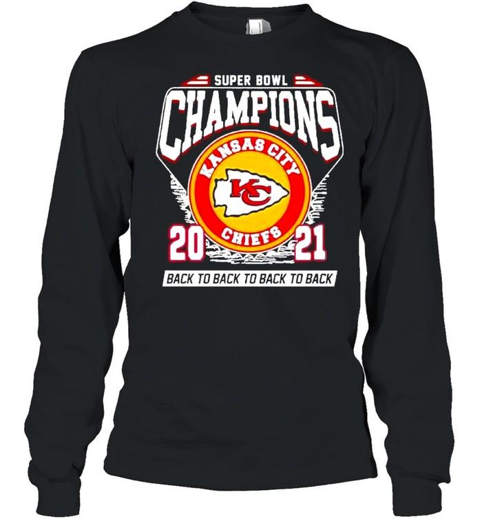 Super Bowl Kansas City Chiefs Football 2021 Champions Black To Back To Back shirt Long Sleeved T-shirt