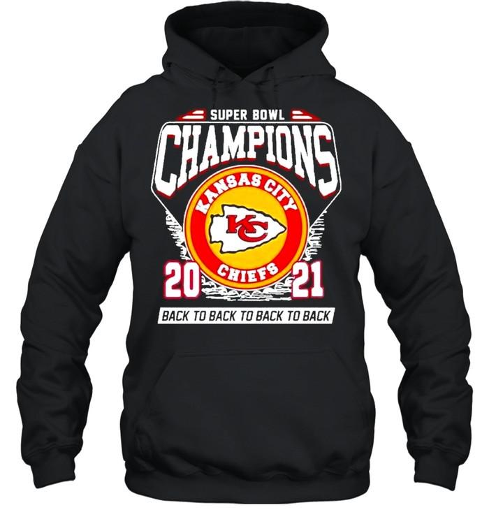 Super Bowl Kansas City Chiefs Football 2021 Champions Black To Back To Back shirt Unisex Hoodie