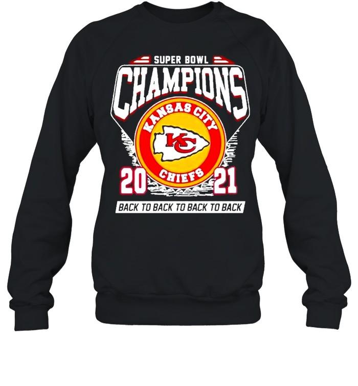 Super Bowl Kansas City Chiefs Football 2021 Champions Black To Back To Back shirt Unisex Sweatshirt