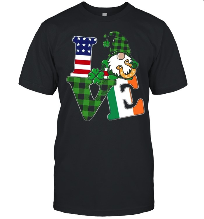 American flag Gnome Love St Patricks Day shirt