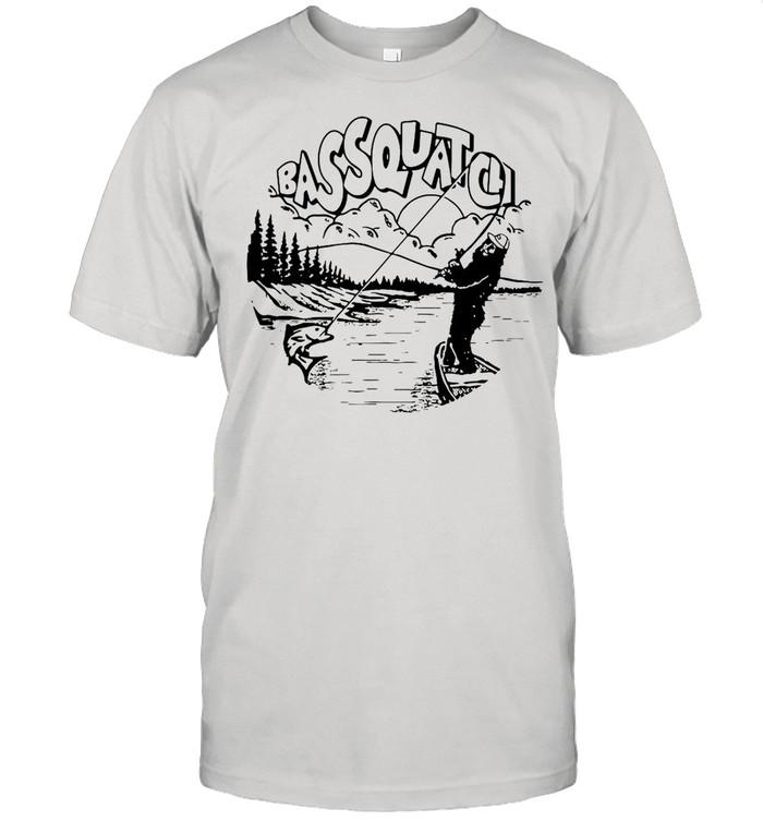 Bassquatch Funny Bass Fishing Bigfoot On The Lake shirt