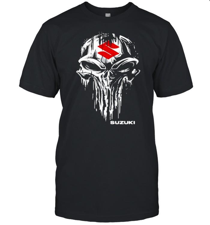 Punisher Skull With Suzuki Car Logo Symbol Shirt