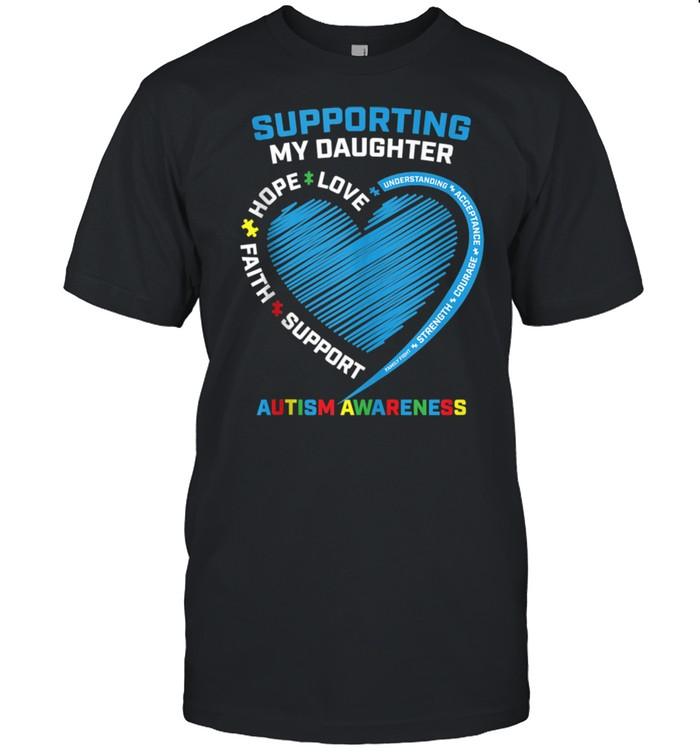 Mom Dad Heart We Wear Blue Support Daughter Autism Awareness shirt