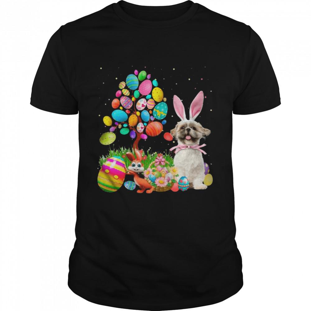 Bunny Shih Tzu Dog And Bunny Happy Easter Eggs shirt