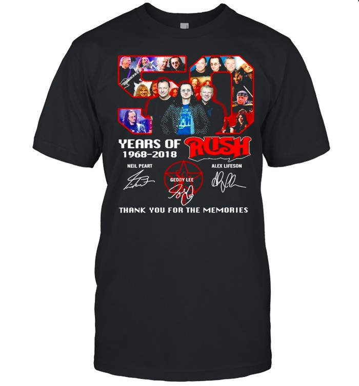 50 Years Of 1968 2018 Rush Signatures Thank You For The Memories Shirt