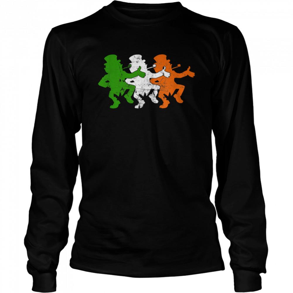 Leprechaun Irish Flag Colors Ireland Ancestry Festive Family shirt Long Sleeved T-shirt