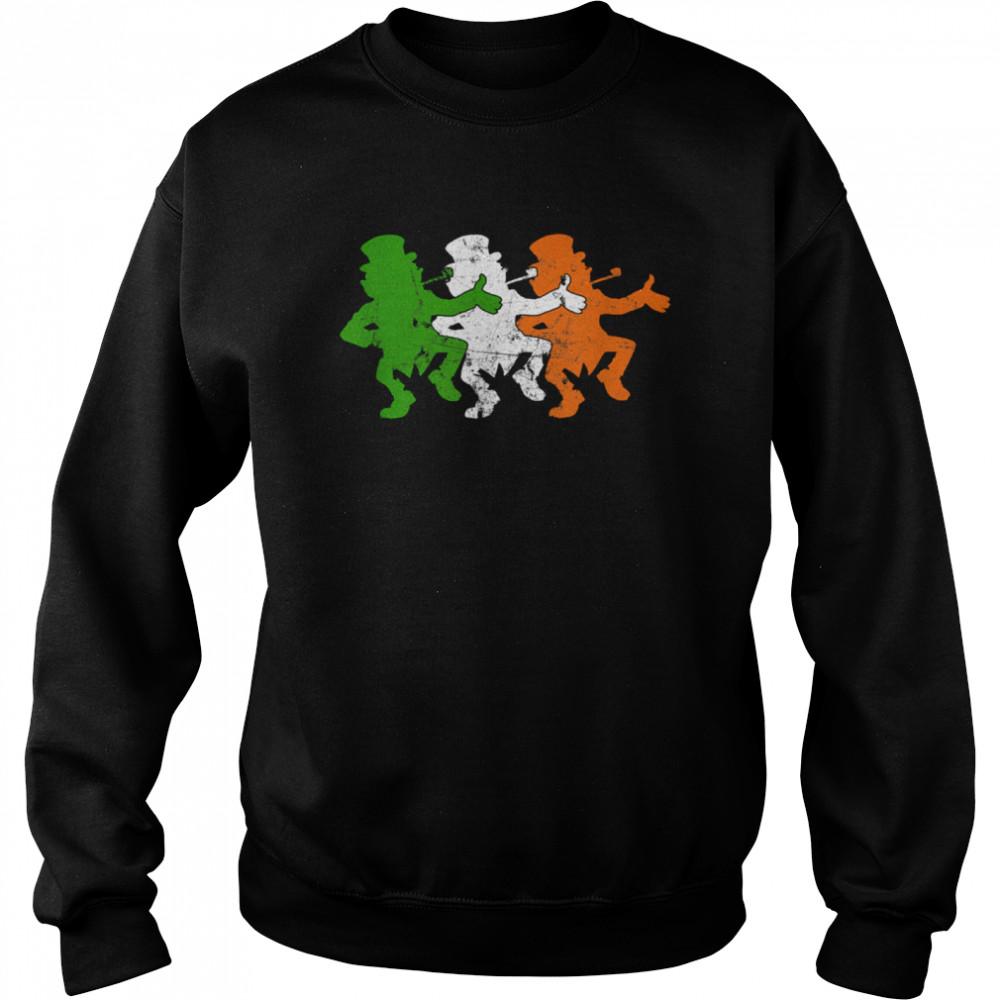 Leprechaun Irish Flag Colors Ireland Ancestry Festive Family shirt Unisex Sweatshirt
