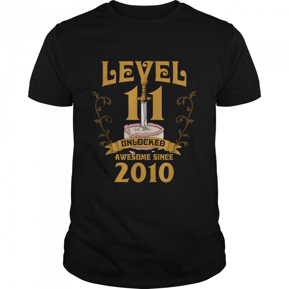 Level 11 Unlocked Gamer 11 Years Old 2010 Birthday 11th Bday shirt
