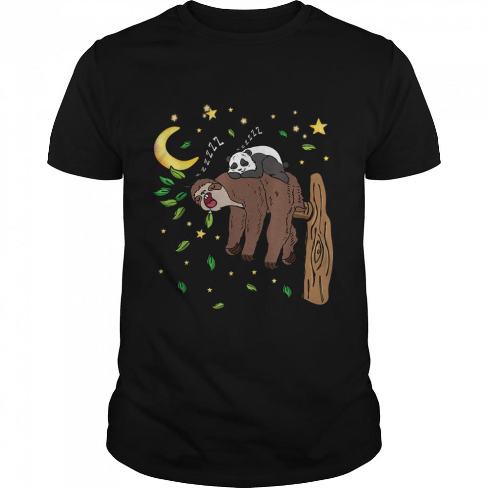 Panda Sleeping On A Sloth Lazy People shirt