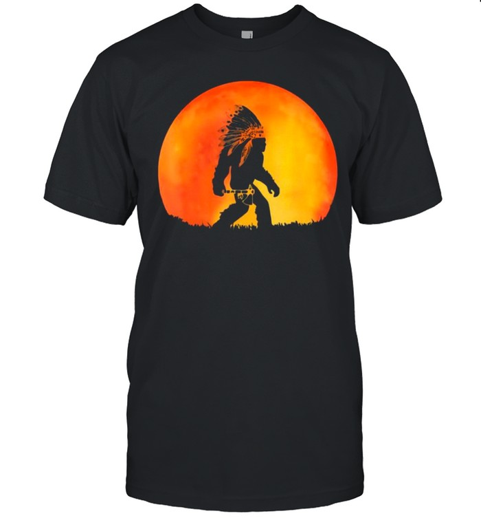 The Bigfoot Native American With Red Moon shirt