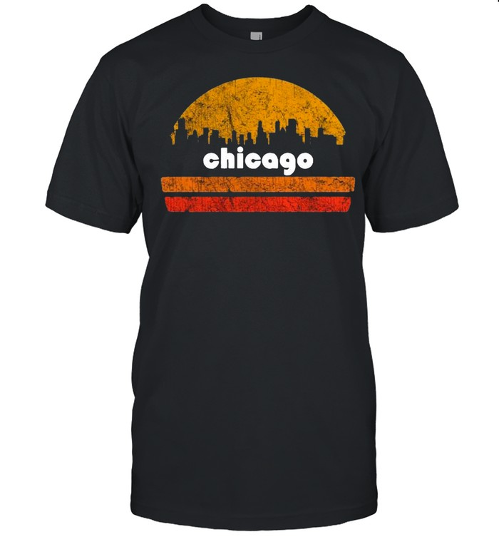 Vintage Retro Chicago Downtown City With Sunset shirt