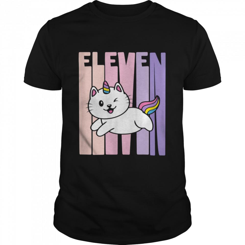 11 Year Old Cute Caticorn Cat Unicorn Birthday Girl Bday Shirt