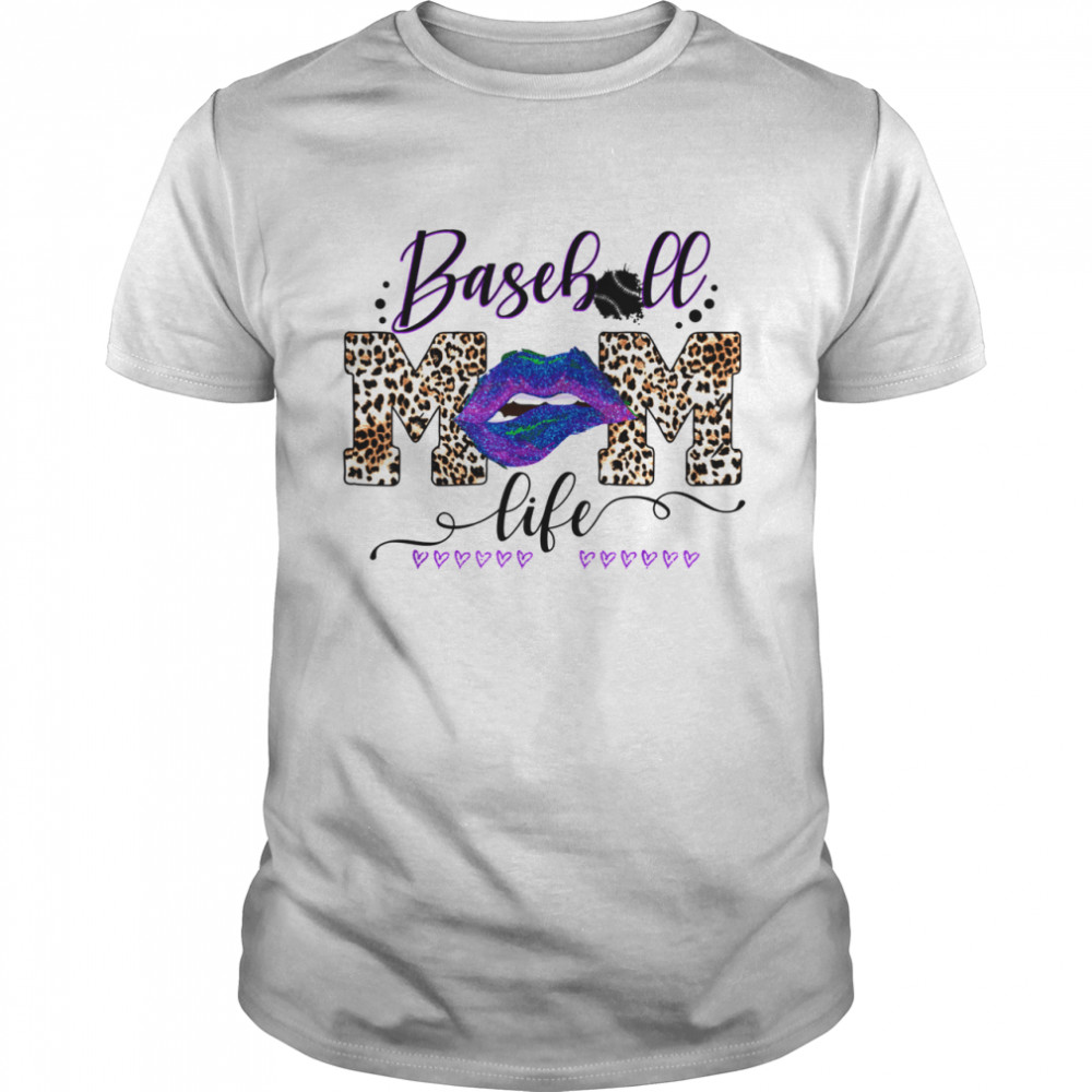 Womens Baseball MOm Life Lips Leopard Buffalo Matching mom shirt