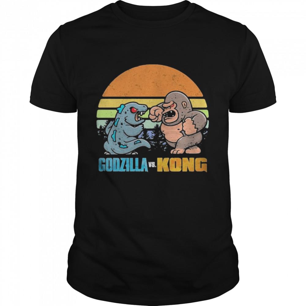 Chibi Godzilla Vs Kong Movie 2021 Vintage Retro shirt