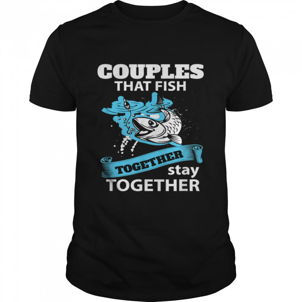 Fishing Couple Everyday Text Simple Retro Shirt