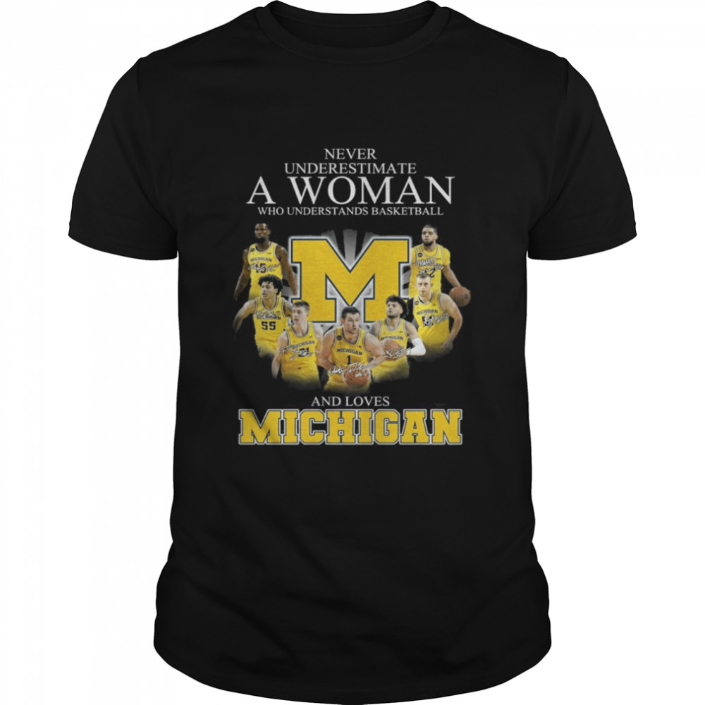Michigan Wolverines Teams Basketball Never Underestimate A Woman And Love Michigan Signatures shirt