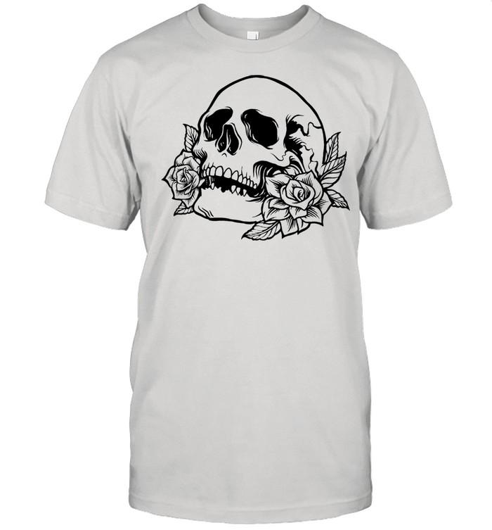Drawn skull with roses shirt