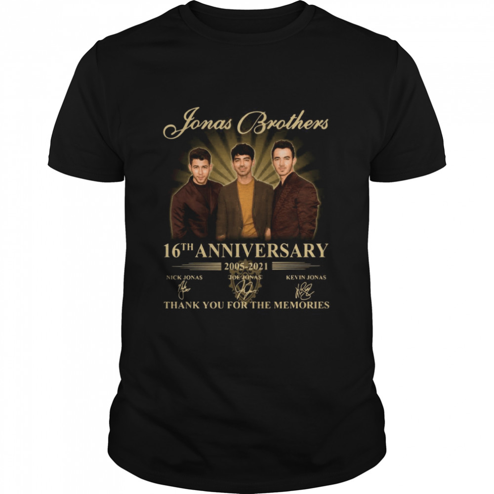 Jonas Brothers 16th anniversary 2005 2021 thank you for the memories signatures shirt