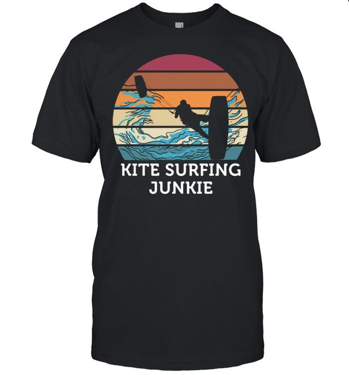 Kitesurfen Junkie Vintage Retro Sunset Beach Surfing Shirt