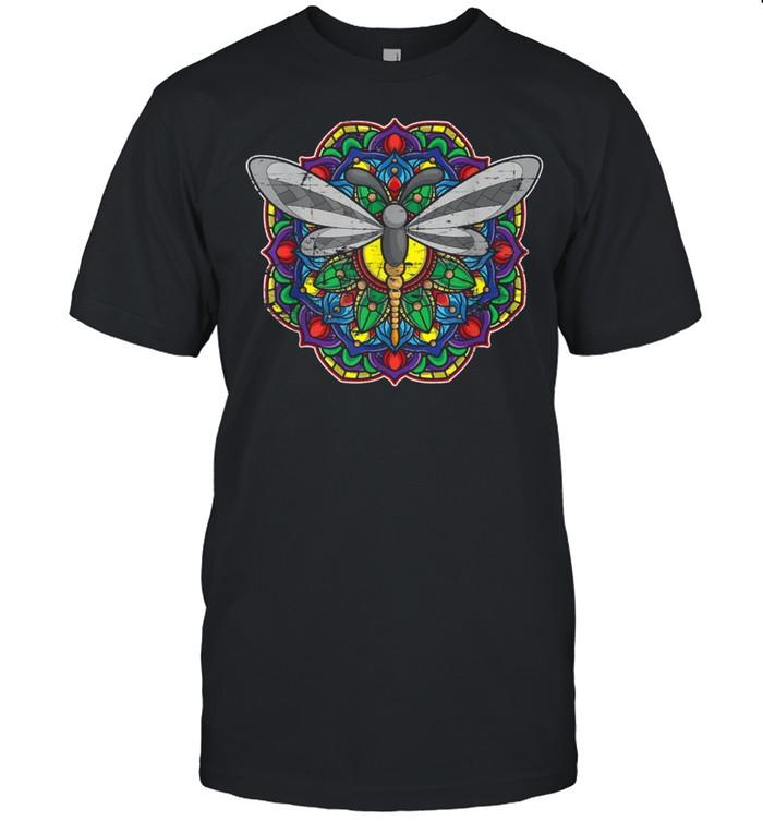 Tierliebhaber Hippie Entomologe Geschenk Mandala Libelle shirt