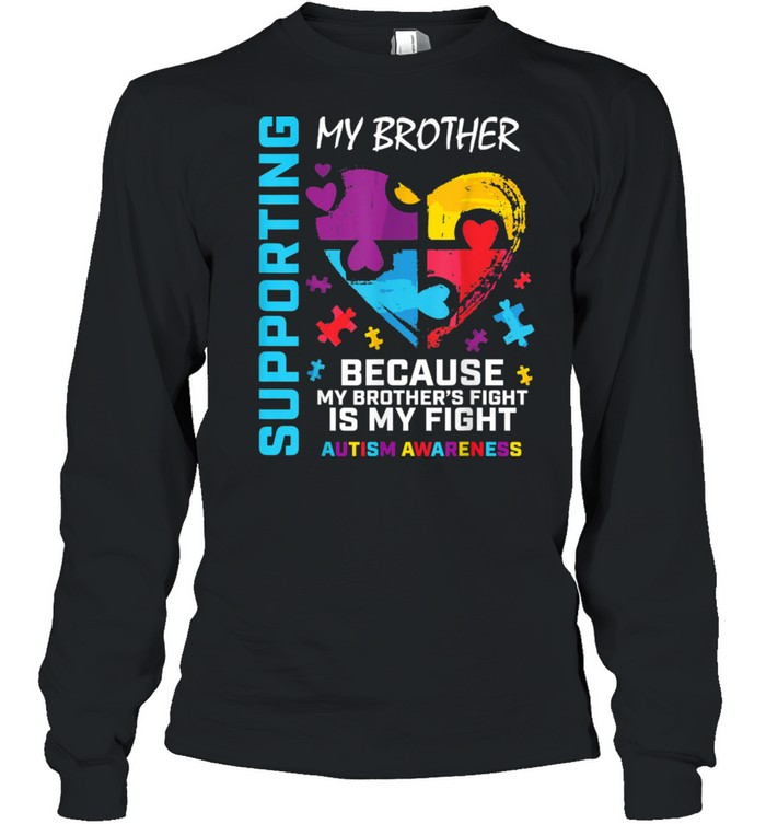 We Wear Blue Heart Puzzle Support Brother Autism Awareness shirt Long Sleeved T-shirt
