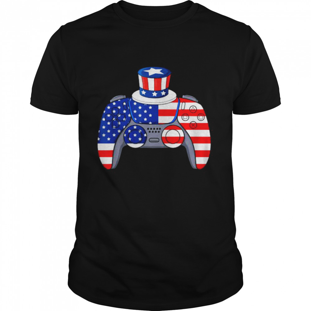 Video Game 4th Of July Gaming American Flag Shirt