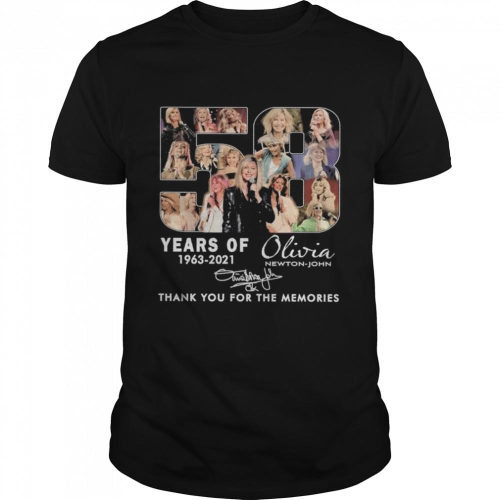 55 years of 1963 2021 Olivia Newton John signature thank you for the memories shirt