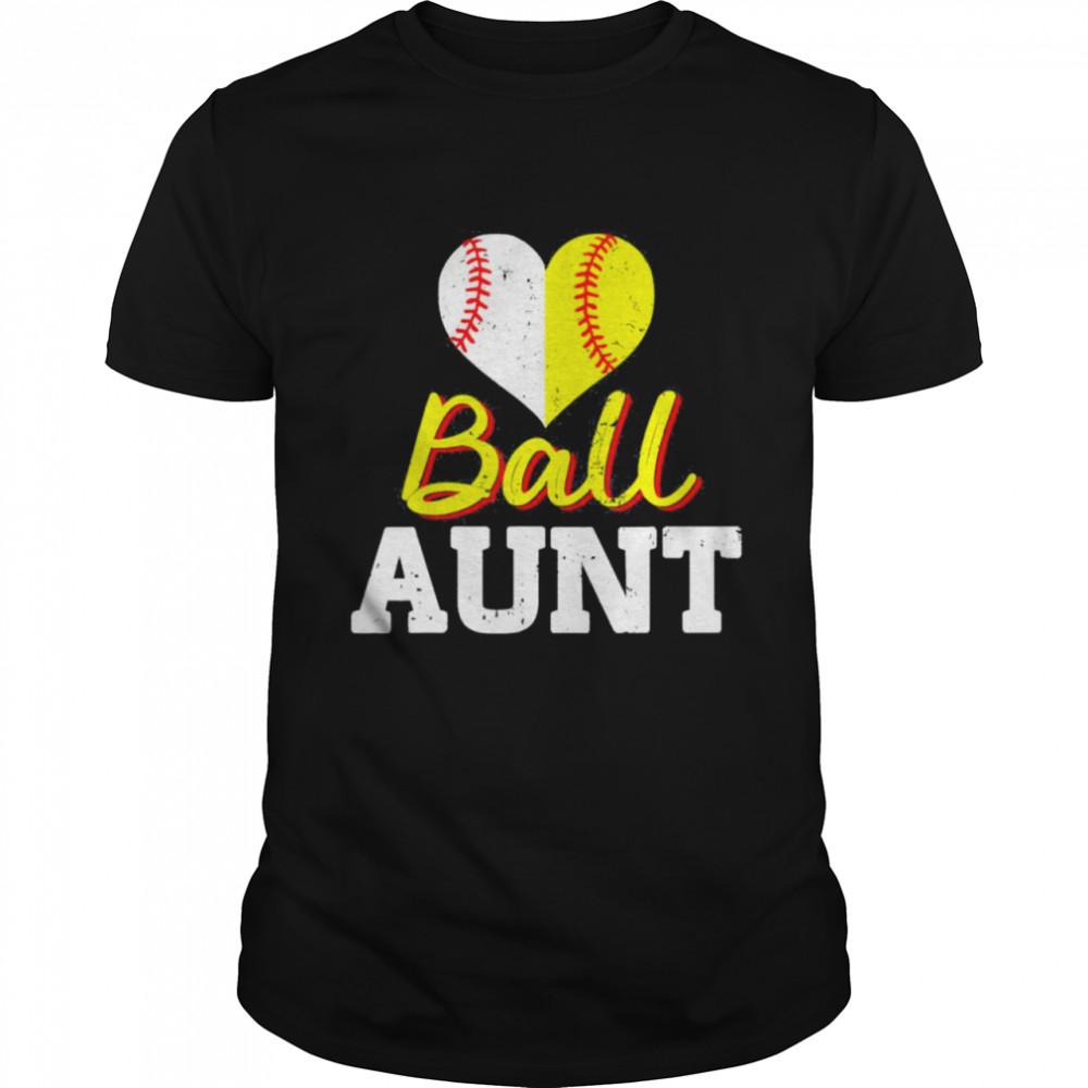 Baseball Softball Ball Heart Aunt Classic shirt