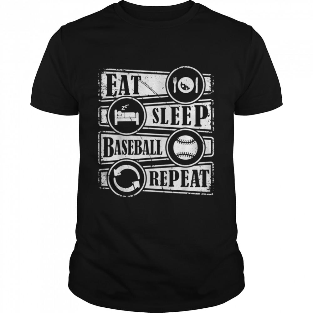 Eat Sleep Baseball Repeat Sports Baseball Shirt