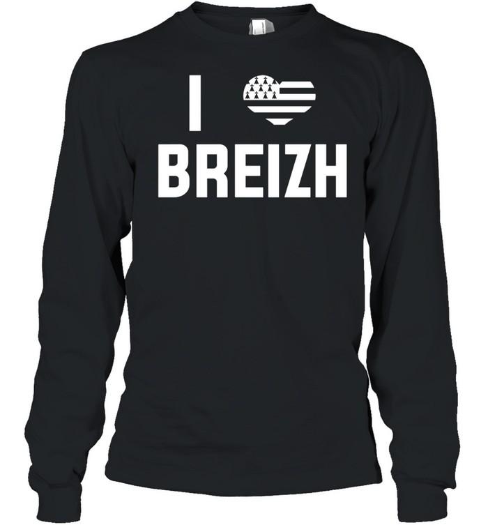 I Love Brittany Flag Vacation Bretons France  Long Sleeved T-shirt