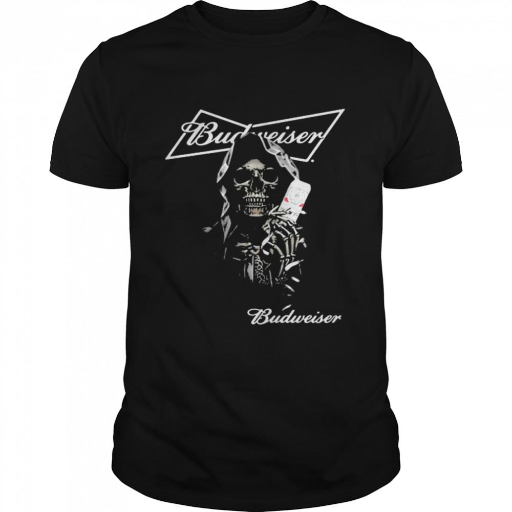 Skull Holding Budweiser Beer Logo Shirt