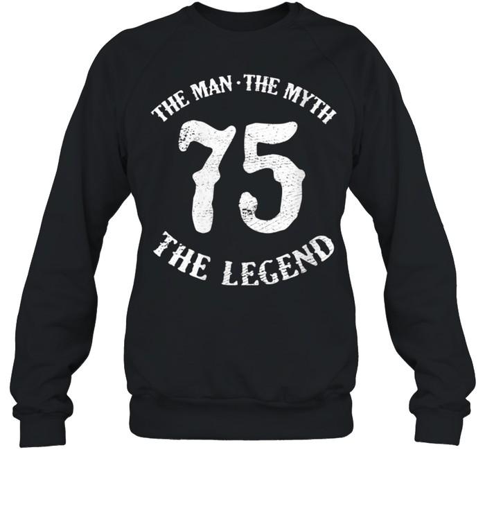 Womens Man Myth Legend 75th Birthday Number 75 Born In 1975 shirt Unisex Sweatshirt