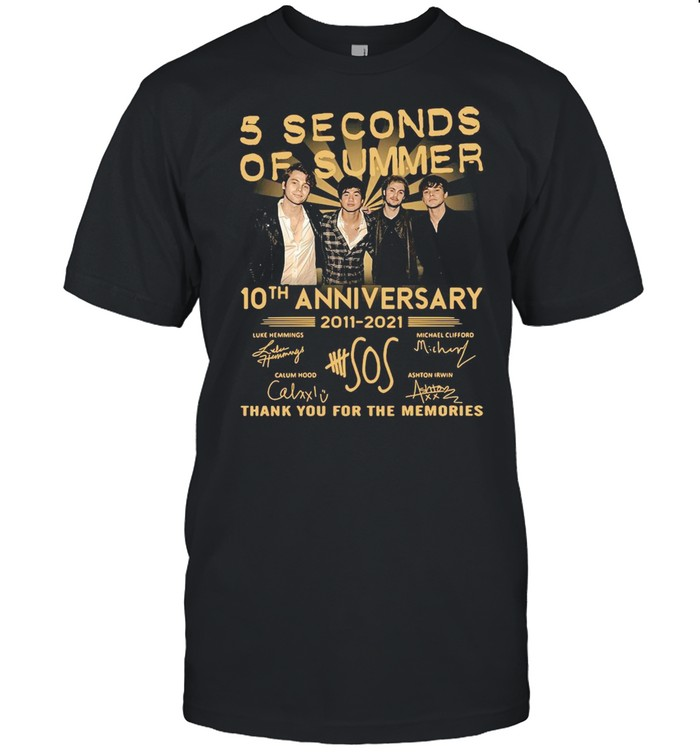5 Seconds OF Summer 10th anniversary 2011-2021 signature thank you for the memories T-shirt