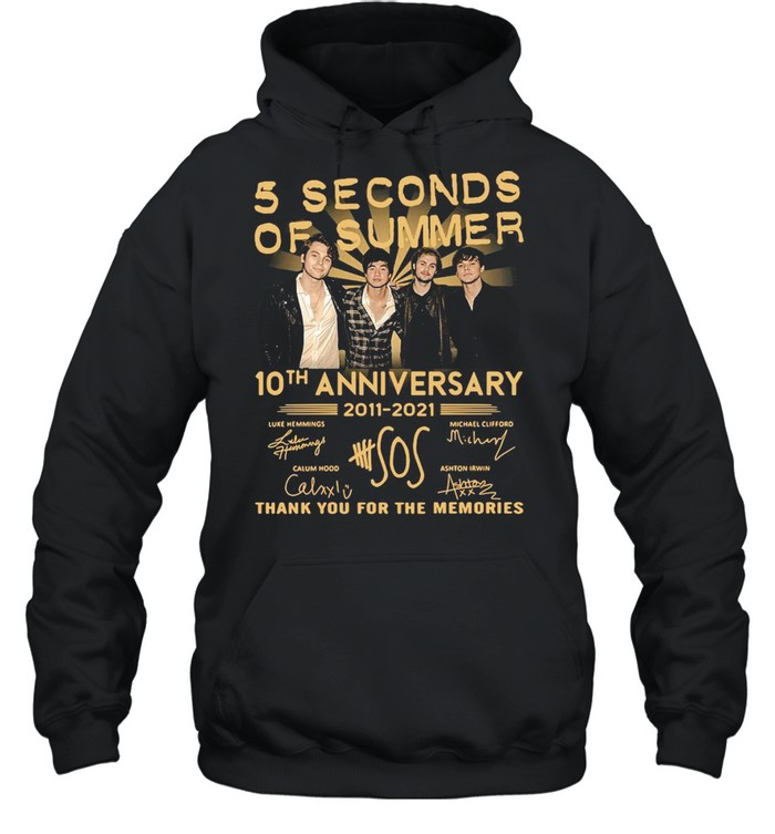 5 Seconds OF Summer 10th anniversary 2011-2021 signature thank you for the memories T-shirt Unisex Hoodie