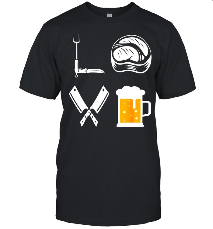 Mens LOVE Barbecue Beer Steak BBQ Grill Master BBQ Grilling shirt