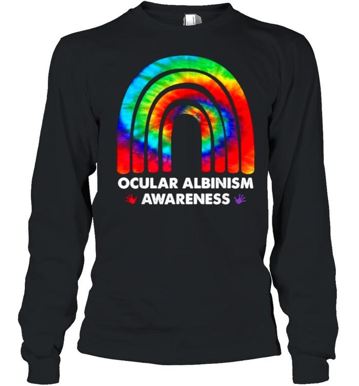 We Wear Rainbow Heart For Ocular Albinism Awareness T- Long Sleeved T-shirt