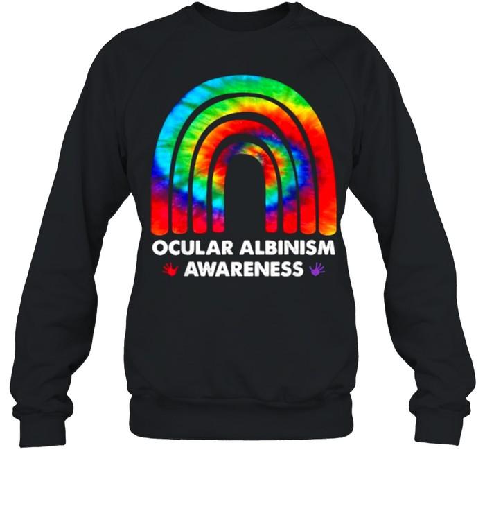 We Wear Rainbow Heart For Ocular Albinism Awareness T- Unisex Sweatshirt