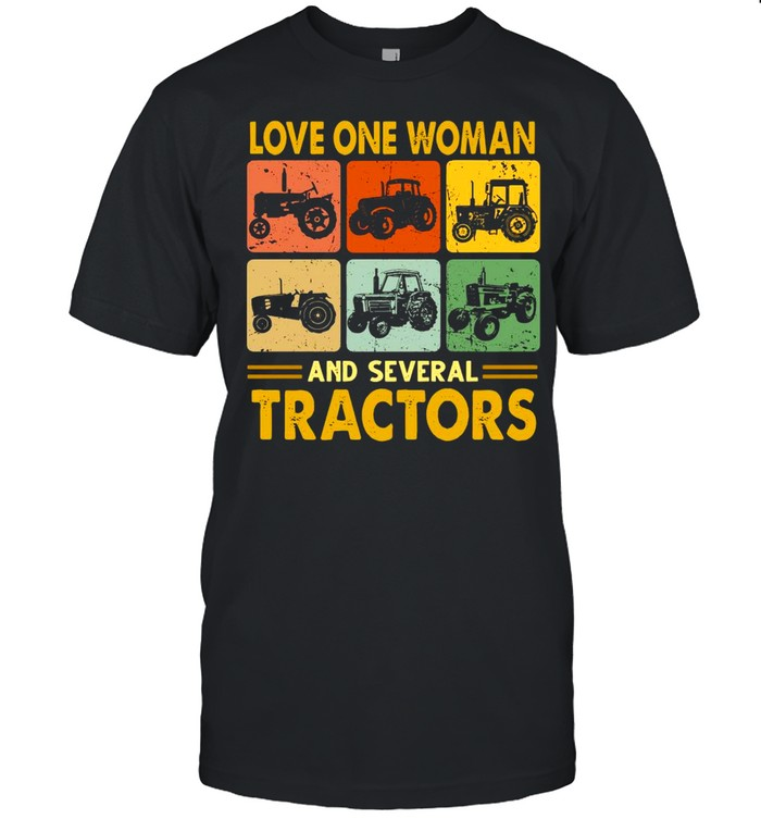 Love One Woman And Several Tractors Vintage  Classic Men's T-shirt