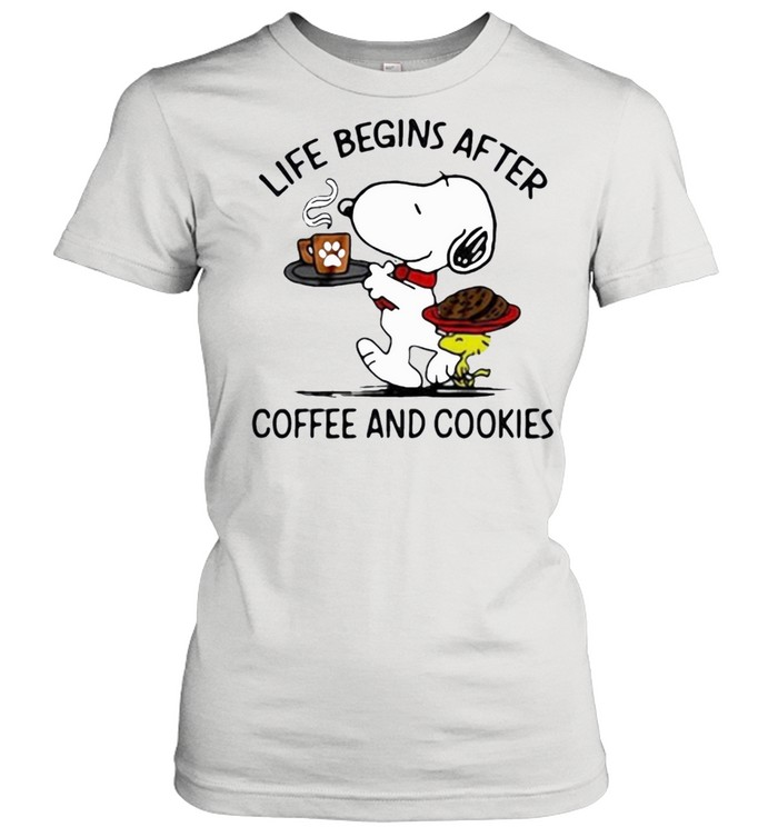 snoopy and woodstock life begins after coffee and cookies shirt Classic Women's T-shirt