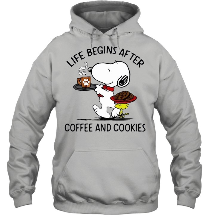 snoopy and woodstock life begins after coffee and cookies shirt Unisex Hoodie