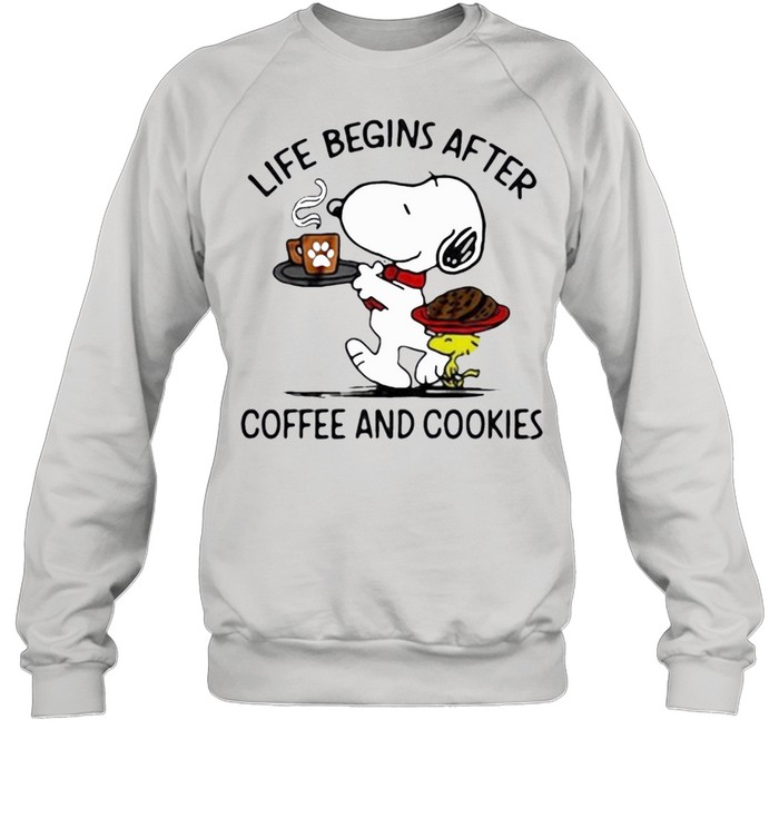 snoopy and woodstock life begins after coffee and cookies shirt Unisex Sweatshirt
