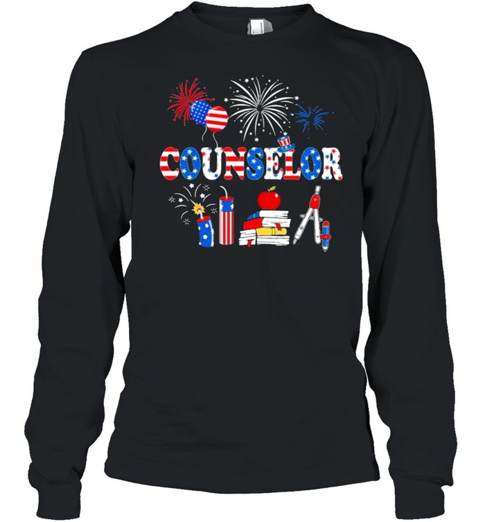 Pride Counselor American Flag Stethoscope shirt Long Sleeved T-shirt