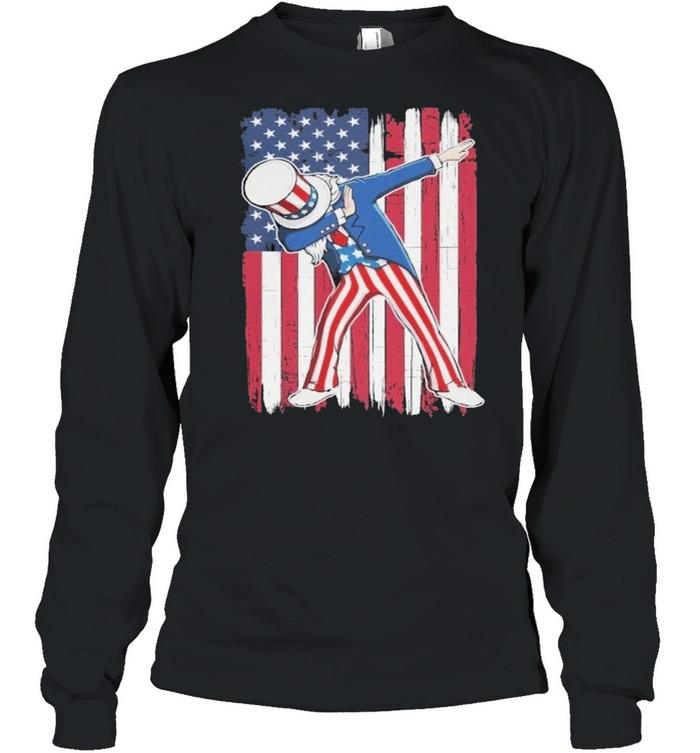 Dabbing Uncle Sam USA Flag Patriotic Fourth of July shirt Long Sleeved T-shirt