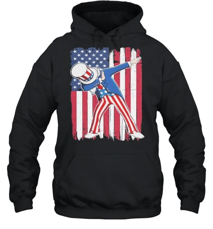 Dabbing Uncle Sam USA Flag Patriotic Fourth of July shirt Unisex Hoodie