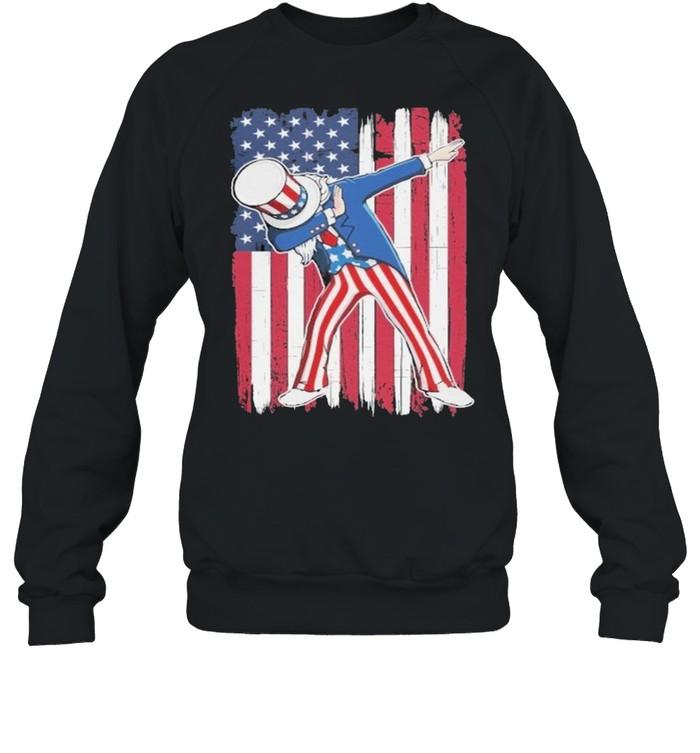 Dabbing Uncle Sam USA Flag Patriotic Fourth of July shirt Unisex Sweatshirt