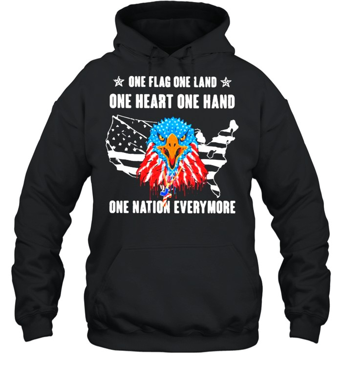 One Flag One Land One Heart One Hand One Nation Everymore Eagle American Flag  Unisex Hoodie