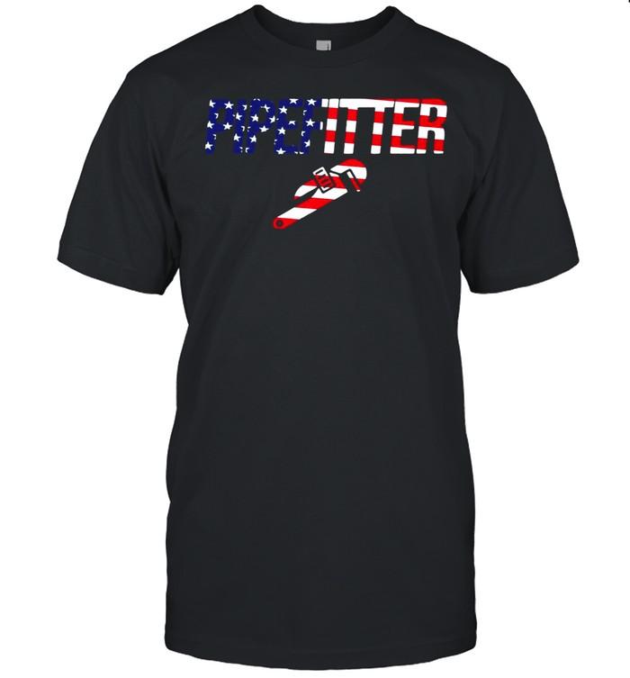 American Flag Pipefitter Pipefitting Plumbing Plumber  Classic Men's T-shirt