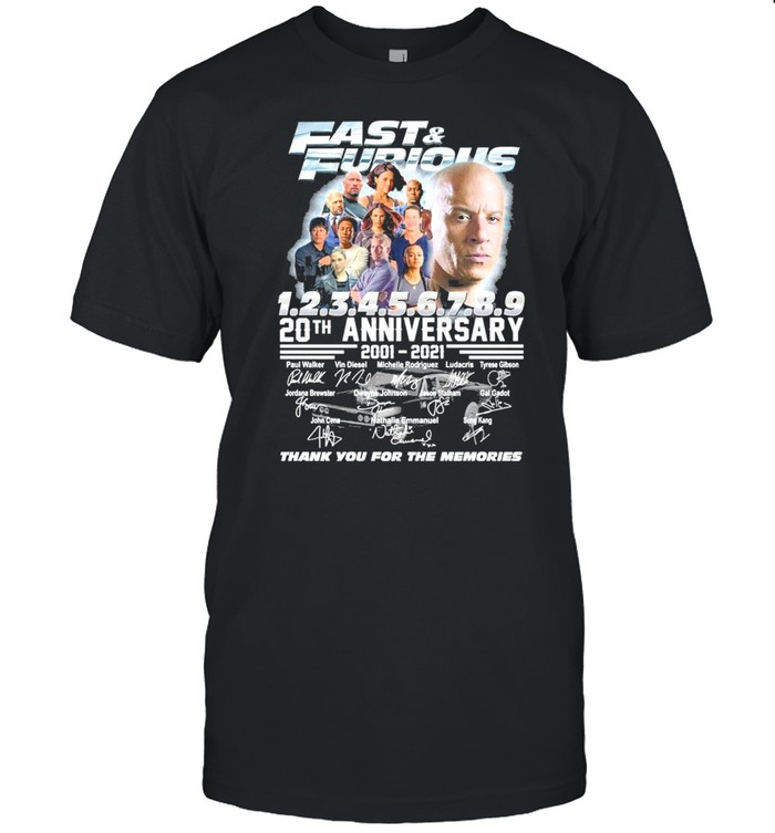 Fast and furious 20th anniversary 2001 2021 thank you for the memories shirt Classic Men's T-shirt